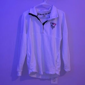 VS pink white and colorful quarter zip